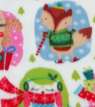 Christmas Anti-Pill Plush Fabric-Woodland Animals