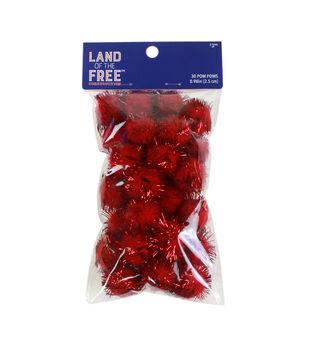 Land of the Free Tinsel Pom Poms 30/Pkg-Red