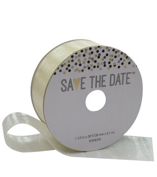 Save the Date 1.5'' X 30' Ribbon-Ivory Sheer
