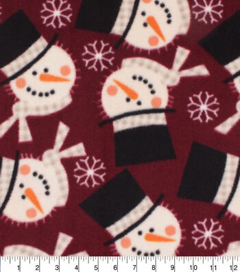Anti-Pill Plush Fleece Fabric-Red Snowman Holiday