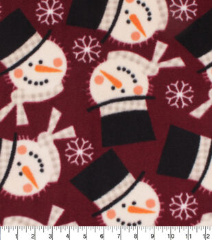 Christmas Anti-Pill Plush Fleece Fabric-Snowmen on Red