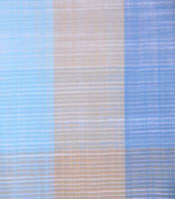 Cotton Shirting Fabric 42''-Blue, Tan & Aqua Plaid