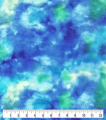 Anti-Pill Plush Fleece Fabric-Blue & Green Tie Dye