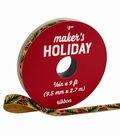 Maker\u0027s Holiday Woodland Lodge Ribbon 3/8\u0027\u0027x9\u0027-Pinecones on Natural