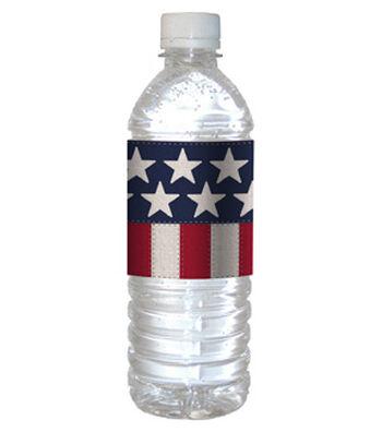 Americana Patriotic 12 pk 12''x2.5'' Water Bottle Labels-Stars & Stripes