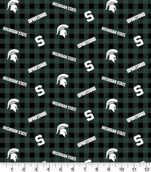 Michigan State Spartans Flannel Fabric-Checks