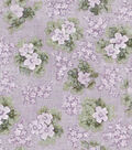 Vintage Cotton Fabric 43\u0022-Floral Bouquet Purple