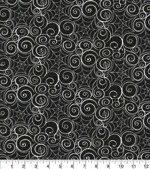 Halloween Cotton Fabric-Metallic Spider Webs Black