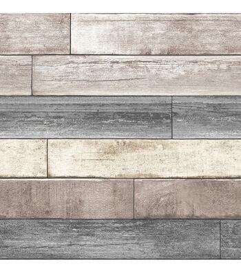 WallPops NuWallpaper Reclaimed Plank Wood Peel  & Stick Wallpaper