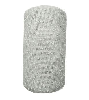 Handmade Holiday Christmas Mesh Ribbon 5''x15'-Snow on White
