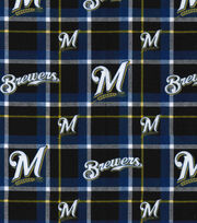 "Milwaukee Brewers Flannel Fabric 42""-Plaid, , hi-res"