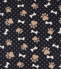 Blizzard Fleece Fabric-Paw Prints and Bones on Tan