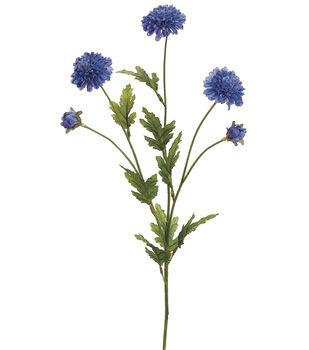 "Bloom Room 28"" Pom Pom Mum Spray-Blue Delphinium"