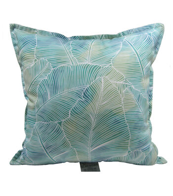 "Patio Oasis 17""x17"" Teal Palms Outdoor Pillow"