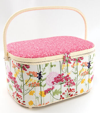 Extra Large Oval Sewing Basket-Pink Floral