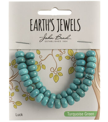 Earth's Jewels Semi-Precious Rondell 5x8mm Beads-Turquoise Green