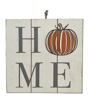 Simply Autumn 11.75''x11.75'' Metal & Wood Wall Decor-Pumpkin Home