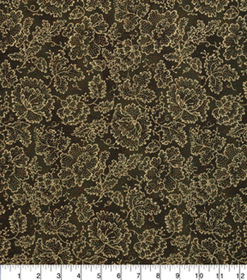 "Harvest Cotton Fabric 43""-Gold Flowers"