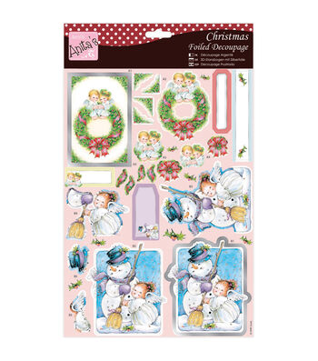 Anita's A4 Foiled Decoupage Sheet-Angels On Wreath