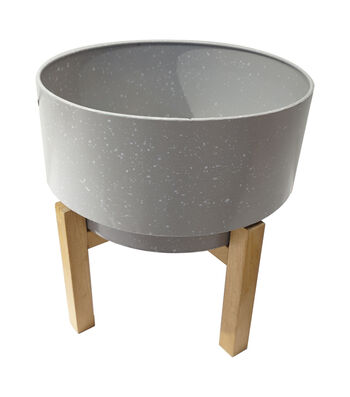 In the Garden Plant Stand with Wooden Base-Gray