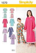 Simplicity Pattern 1570HH Children\u0027s Loungewear-Size 3-4-5-6
