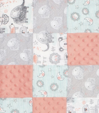 """Nursery 3D Patchwork Fabric 44""""-Whimsy"""