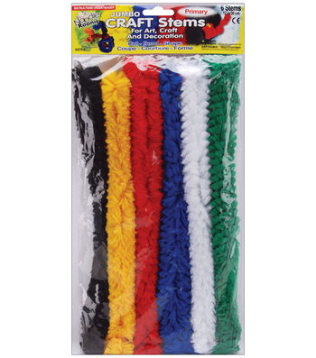"Pepperell Noodle Roonie Jumbo Craft Stems 12"" 6/Pkg-Primary"