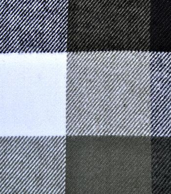 Plaiditudes Brushed Apparel Fabric -White & Gray Buffalo Check