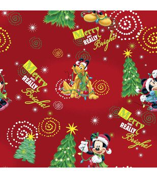 Holiday Cotton Fabric -Merry Mickey