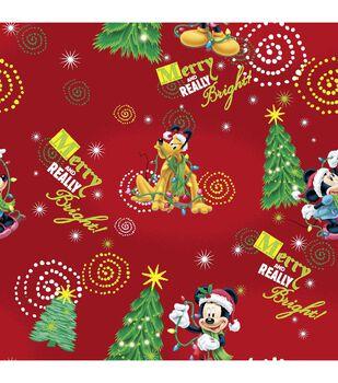 Holiday Cotton Fabric -Merry Mickey