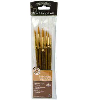 Royal Langnickel 6pc Round Brush Set-Gold Taklon