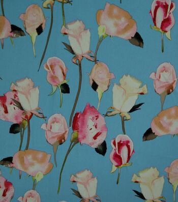 "Silky Stretch Crepe Fabric 57""-Light Blue Stems"