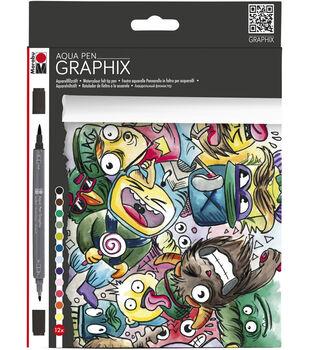 Marabu Graphix 12 pk Dual-tipped Aqua Pens-Mega Mash