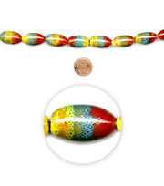 "Blue Moon Beads 7"" Strand, Ceramic Oval Multi Stripe, , hi-res"