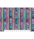Asian Inspired Cotton Fabric 43\u0022-Asian Floral Stripe Metallic