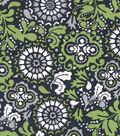 Quilter\u0027s Showcase Fabric 43\u0027\u0027-Navy & Green Floral Medallion