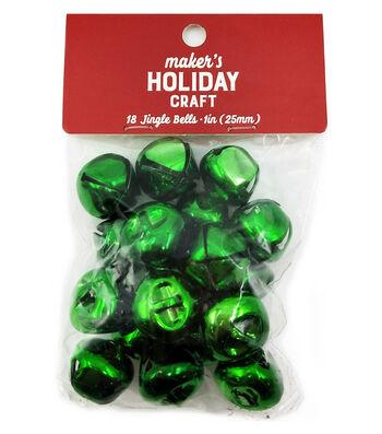 Maker's Holiday Craft Christmas 18 pk 1'' Bells-Green
