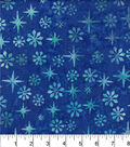 Maker\u0027s Holiday Cotton Print Batik Fabric 44\u0027\u0027-Dark Blue Snowflakes