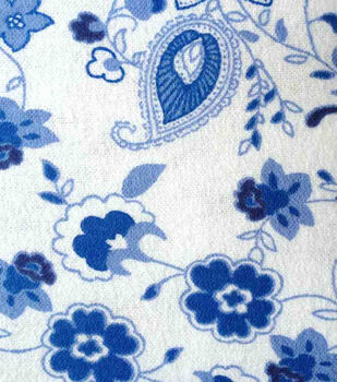 Snuggle Flannel Fabric -Princess Blue Paisley Floral