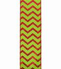 Maker\u0027s Holiday Christmas Ribbon 2.5\u0027\u0027x25\u0027-Red Glitter Chevron on Lime