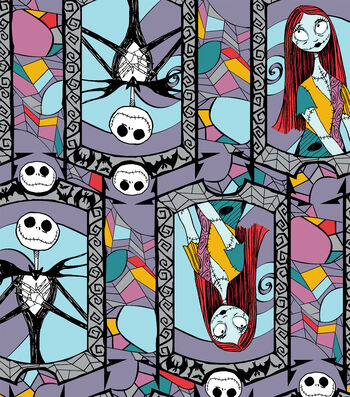 """Nightmare Before Christmas Halloween Cotton Fabric 43""""-Stained Glass"""