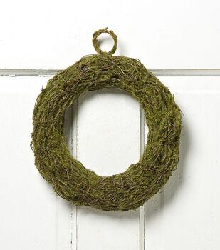 Bloom Room 10'' Moss Twig Rattan Wreath-Green