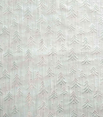 """Sew Sweet Embossed Tree Lame Decorating Fabric 58""""-Silver"""