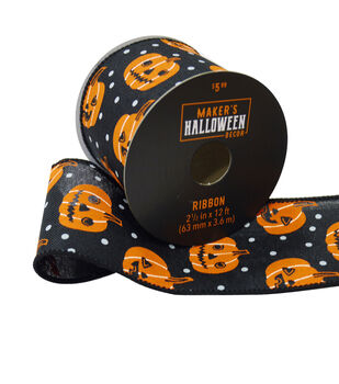 Maker's Halloween Decor Ribbon 2.5''x12'-Orange Pumpkins on Black