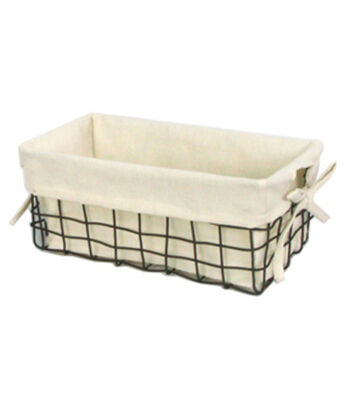 Organizing Essentials 11''x6'' Wire Basket with Ivory Liner