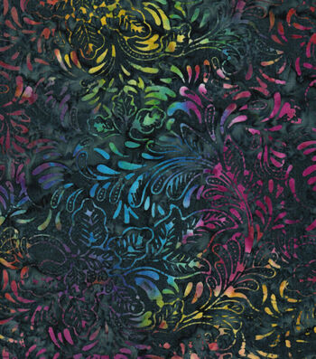 "Legacy Studio Batik Cotton Fabric 43""-Multi Floral Navy"