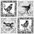 4songbirds-unmounted Rubber Stp