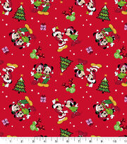 Mickey & Minnie Flannel Fabric-Home For The Holiday Red, , hi-res
