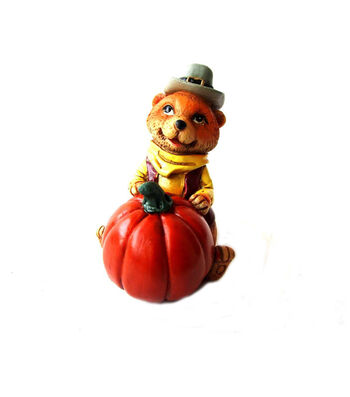 Simply Autumn Littles Raccoon with Pumpkin