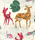 Snuggle Flannel Fabric -Floral Patterned Woodland Animals